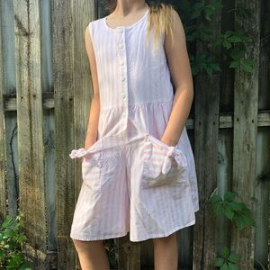 Vintage Romper Pink White Striped Juniors Summer